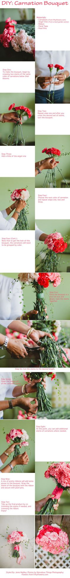 DIY Carnation Bouquet - Learn How To create your own gorgeous wedding bouquet… Spring Wedding Bouquets, Rose Wedding Bouquet, Diy Wedding Flowers, Rose Bouquet, Bridesmaid Bouquets, Wedding Ideas, Carnation Bouquet, Hand Bouquet, Carnations
