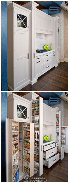 kitchen cabinets. how awesome would this be. I love it when space is used so efficiently!  Who says you have to have a huge house? It's all in how you use the space you have.