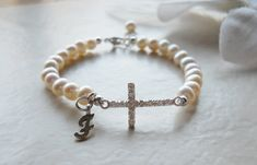 Sideways Cross Pearl and Initial Bracelet First Communion Gift