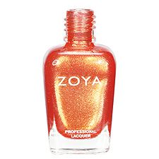 Zoya Nail Polish in Tanzy - Light, bright tangerine orange with yellow gold metallic sparkle.