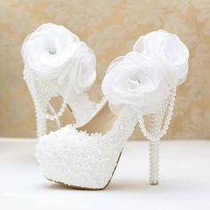 wedding shoes pearl wedding shoes platform Lace pearl white flowers bridal shoes thin high heel platform shoes with pearl pendant round/pointed toe wedding shoes Bridal Wedding Shoes, White Wedding Shoes, Wedding Boots, Wedding Bride, Wedding Lace, Wedding Flowers, Luxury Wedding, Blue Bridal, Bridal Gown