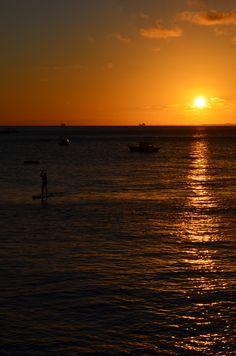 Por do sol visto do cais do Solar do Unhão, Salvador, Bahia, Brasil