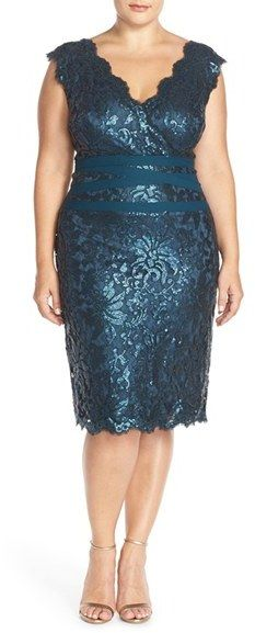 Plus Size Embellished Metallic Lace Sheath Dress - Plus Size Cocktail Dress