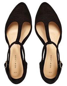 Tendance Chaussures   New Look | New Look Jupiter Black T Bar Flat Shoes at ASOS