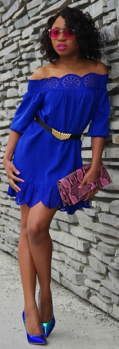 Sexy pink and blue evening outfit: blue peplum hem off shoulder laser cut dress with blue-green hologram iridescent pumps.