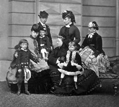 teatimeatwinterpalace: Queen Victoria, Alexandra Princess of Wales her children Prince Albert Victor, Prince George and Princess Louise, Prince Leopold Duke of Albany, Princess Louise Duchess of Argyll and Princess Beatrice.