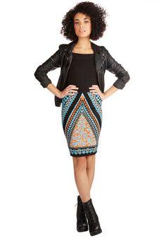 Upper East Stride Skirt - Pencil, Good, Blue, Mid-length, Knit, Orange, Blue, Black, Print, Casual, Girls Night Out, Urban, High Waist, Multi