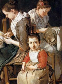 Giacomo Ceruti (il Pitocchetto)- Women Working on Pillow Lace (detail) Coll. Privata