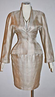 Vintage THIERRY MUGLER Suit Silk Plaid Skirt Blazer