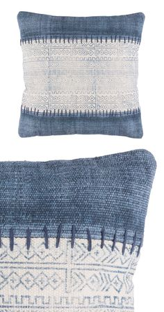 As if a swath of antique-printed fabric has been carefully stitched between strips of indigo, this pillow is woven with care. Love it like it has been passed down, to find a new home where you love to ...  Find the In(digo) Stitches Throw Pillow, as seen in the #ModernFrontierStyle Collection at http://dotandbo.com/collections/modernfrontierstyle?utm_source=pinterest&utm_medium=organic&db_sku=117022