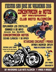 Con motivo de las fiestas de San José de Valderas en Alcorcon, Madrid este domingo 8 de Mayo se llevará a cabo esta concentración de motos, coches clásicos y de época. No faltéis. ¡Os esperamos! . Gracias