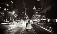 chicago road michigan avenue vintage Polka Dot Dress engagement photos