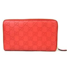 b0fcf7bec246 Gucci Unisex Coral Red Guccissima Leather Wallet Zip Around Travel Clutch