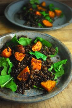 This salad with spiced lentils and roasted sweet potatoes is so good! Easy vegan meal - perfect for rushed weeknights! Gluten free.