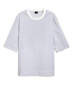 Vævet T-shirt i bomuld   Hvid/Stribet   Herre   H&M DK