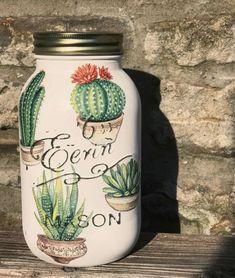 Succulent cactus mason jar