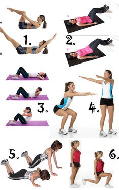 30 frog crunches 20 pelvic raises 20 sit ups 30 swivel squats 20 knee push-ups 20 lunges (each leg) Crunches, Lunges, Squats, Fitness Challenges, Getting Bored, Fitness Workouts, Workout Challenge, Bathroom Storage, Push Up