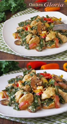 Healthified Chicken Gloria with Kale, Peppers, Mushrooms and Potatoes! This was Truly Amazing! When you want to Impress your guests - this is IT!