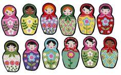 Matryoshka dolls iron on fabric appliques DIY by patternoldies