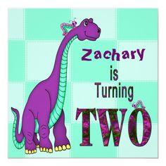 2ND BIRTHDAY INVITATION - DINOSAUR - PURPLE Dinosaur Birthday Invitations, Three Year Olds, 3rd Birthday, Paper Texture, Smudging, Purple, Cards, Announcement, Google Search