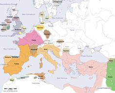 Europe Main Map at the Beginning of the Year 500