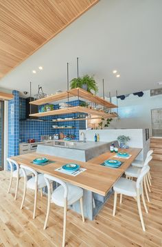 住友林業の家 #house #homeidea #kitchen #counter #oak #tile #skipfloor #natural #blue #turquoise #兵庫県西宮市 #ABCハウジング Kitchen Under Stairs, Modern Bungalow House Design, Loft Interior Design, Living Room Decor Inspiration, Built In Furniture, Small Apartment Decorating, Dream House Plans, Japanese House, Home Design Plans