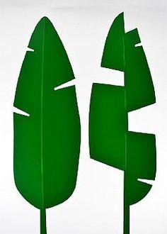 Feeling Tropical - Σετ 2τχ Φύλλο Μπανανιάς PVC Πράσινο σκούρο 67x41cm