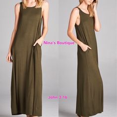 Tank style Maxi Maxi tank dress with side pockets. Price is firm! S(2/4) M(6/8) L(10/12) - 93% rayon 7% spandex Dresses Maxi