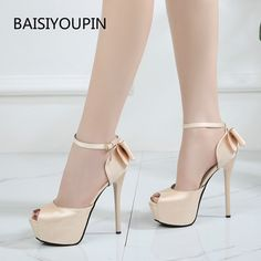 Summer Solid Sexy Pumps Women Peep-toe Sandals Shoes Wedding 4cm-5cm Platform Silk Buckle Strap High Heels Party Female Shoes