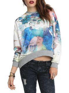 Map Of The World Girls Sweatshirt   Hot Topic