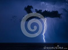 Lightning from a cloud on the sky