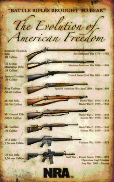 The Evolution of American Freedom poster, with various iconic rifles, by the NRA #fb