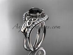platinum diamond celtic trinity knot wedding ring, engagement ring with a Black Diamond center stone CT7244