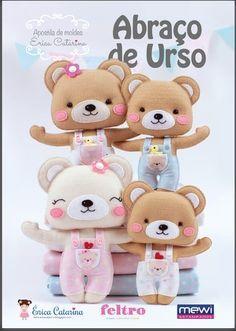 I Love Crafts: Teddy bear with mold Felt Crafts Diy, Felt Diy, Sewing Stuffed Animals, Stuffed Toys Patterns, Erica Catarina, Teddy Bear Crafts, Bear Felt, Felt Animal Patterns, Felt Mouse