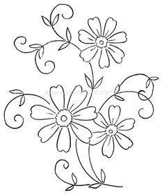Kitchen napkin embroidery pattern with outline embroidery schemes Silk Ribbon Embroidery, Hand Embroidery Patterns, Embroidery Stitches, Machine Embroidery, Flower Patterns, Flower Designs, Parchment Craft, Painting Patterns, Stitch Patterns