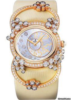 Audemars Piguet Millenary Precieuse Diamond Manual Wind Rose Gold Ladies Watch 77227OR.ZZ.A012SU.01  $40,262 #AudemarsPiguet #watch #watches #chronograph 18 kt rose gold case with an ivory silk bracelet. Fixed bezel set with diamonds. 187 brilliant-cut diamonds (2.35 ctw)