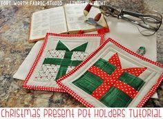 Christmas Pot Holder Tutorial - Fort Worth Fabric Studio - Lindsey Weight