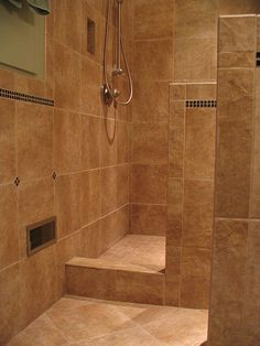 Custom walk in shower -no door - Snyder Residence ; Installed by ...