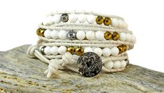 Make a statement with this boho chic, simple & sophisticated bracelet. White natural 4 leather stran