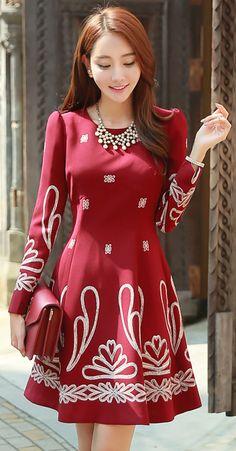 StyleOnme_Embroidered Princess Sleeve Flared Dress #red #dress #falltrend #koreanfashion #feminine #stylish #chic #kstyle #seoul #vintage #flareddress