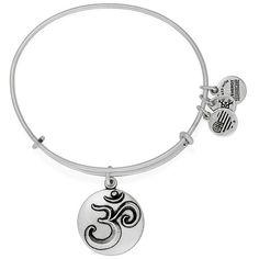 Alex and Ani 'Om' Bangle Bracelet (695 CZK) ❤ liked on Polyvore featuring jewelry, bracelets, silver, alex and ani, alex and ani charms, bracelets & bangles, charm bangle and bangle charms