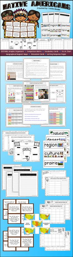 NATIVE AMERICANS: This product includes ESITABLE graphic organizers, Comparison Matrix, Vocabulary Cards, R.A.N. Chart, Geographical Regions' Maps, Discussion Cards and Writing Response Pages. (scheduled via http://www.tailwindapp.com?utm_source=pinterest&utm_medium=twpin&utm_content=post24015918&utm_campaign=scheduler_attribution)
