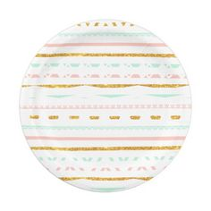 Modern Gold Glitter Pink Mint girly Aztec Pattern 7 Inch Paper Plate by Girly Trend  sc 1 st  Pinterest & Cute trendy faux gold glitter tribal arrows paper plate | Tribal ...