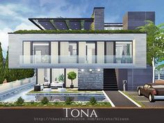 Tona is a contemporary home for a middle sim family. Found in TSR Category 'Sims 4 Residential Lots' Lotes The Sims 4, Sims New, Best Sims, Sims 4 House Plans, Sims 4 House Building, New House Plans, Sims 4 Modern House, Sims 4 House Design, Modern Houses