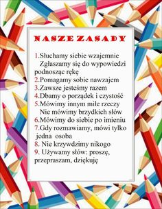 W naszej klasie 1-2-3 c: Nasze zasady Subject Labels, Polish Language, Summer Club, Teachers Corner, Pin On, Festival Decorations, Creative Kids, Diy Christmas Gifts, Back To School