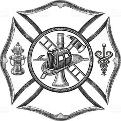 Fire Department Symbol - Retro Style royalty-free stock vector art