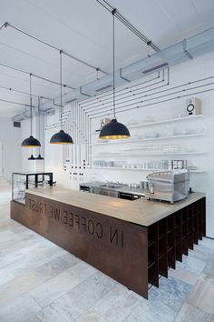 65 Ideas medical clinic interior ceilings for 2019 Industrial Office Design, Industrial Cafe, Coffee Shop Bar, Coffee Shop Design, Cafe Interior Design, Cafe Design, Cafe Restaurant, Restaurant Design, Decoration Restaurant