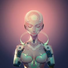 Kai Fine Art is an art website, shows painting and illustration works all over the world. Rpg Cyberpunk, Cyberpunk Kunst, Cyberpunk Girl, Cyberpunk Aesthetic, Robot Humanoïde, Arte Robot, Robot Girl, Cyborg Girl, Female Cyborg