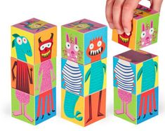 Monsters Blocks 2 - Printable PDF Toy - DIY Craft Kit Paper Toy - 3 paper blocks - Heads, Arms and Legs - Birthday Party Favor Paper Art, Paper Crafts, Diy Crafts, Foam Crafts, Diy Paper, Diy Toys, Toy Diy, Diy For Kids, Crafts For Kids