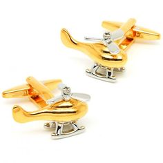 Novelty Paiting Gold Color Helicopter Cufflinks